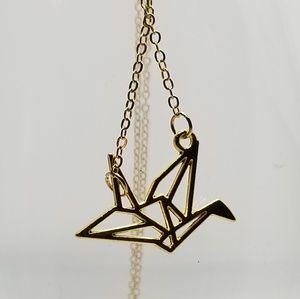 unique gold origami crane necklace